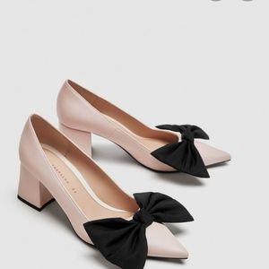 Zara pink nude black bow pumps